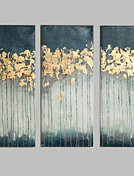 IARTS 3 Pieces Handmade Painting Gold Foil Textured Wall Art Home Decor For Living Room