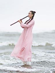 Ramie Cotton Women's Beach Vintage A DressSolid Stand Midi Long Sleeve Pink Cotton Spring