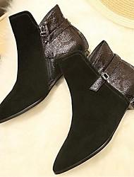 Черный-Женский-Для прогулок-Замша-На низком каблуке-Военные ботинки-Ботинки