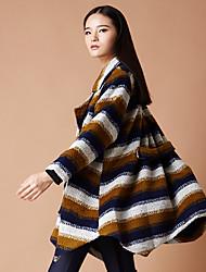 Yishidian® Damen Hemdkragen Lange Ärmel Wolle & Blends Grün / Orange-YSD1630W3