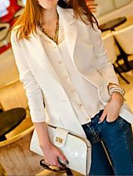 Damen Solide Einfach Lässig/Alltäglich Arbeit Blazer,Steigendes Revers Frühling Herbst Langarm Standard