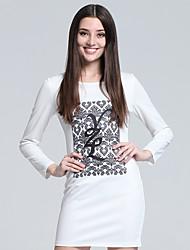 Moulante Robe Femme Travail simple,Imprimé Col Arrondi Mini Manches Longues Blanc Coton Automne Taille Haute Micro-élastique Fin