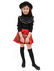 Mädchen Bluse / Pullover & Cardigan-Lässig/Alltäglich einfarbig Wolle Herbst Schwarz / Weiß