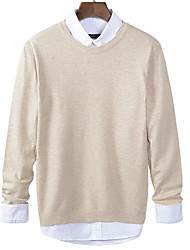 Men's Solid Casual PulloverWool / Cotton Long Sleeve Black / Orange / Red / Beige / Gray k262