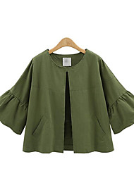 Women's Plus Size / Casual/Daily Street chic Spring / Fall JacketsSolid Round Neck Long Sleeve Blue Cotton Medium