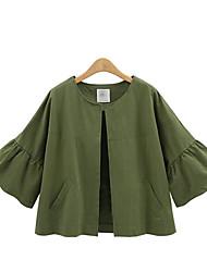 Damen Solide Street Schick Lässig/Alltäglich / Übergröße Jacke,Rundhalsausschnitt Frühling / Herbst ¾-Arm Blau Baumwolle Mittel