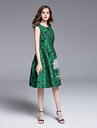 Boutique S Women's Formal Sophisticated Sheath DressPrint Round Neck Knee-length Sleeveless Pink / Green Summer