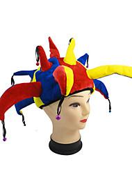 multicolor engraçado halloween jester clown cap cosplay do carnaval do dia das bruxas dos homens acessórios mulheres com fontes do partido