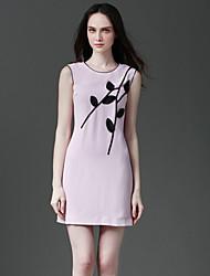 Eosciy® Damen Rundhalsausschnitt Ärmellos Über dem Knie Kleid-42904
