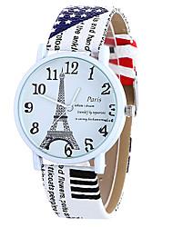 Mulheres Relógio de Moda Quartzo Digital Fase da lua PU Banda Vintage Doce Torre Eiffel Pendente Legal Casual Relógios com PalavrasPreta
