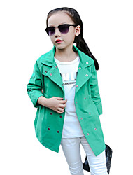 Girl's Casual/Daily Solid Jacket & Coat,Cotton Winter / Fall Green