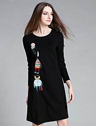 ainier occasionnel / journalier simple col rond gaine dressprint femmes-dessus du genou à manches longues noir