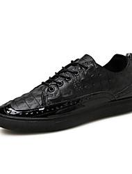 Da uomo-Sneakers-Ufficio e lavoro / Casual-Ballerine-Piatto-PU (Poliuretano)-Nero / Bianco / Nero e oro
