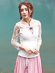 Femme Dentelle Tee-shirt Aux s,Couleur Pleine Sortie Sophistiqué Printemps/Automne Manches ¾ Col Arrondi Blanc Coton/Polyester Transparent