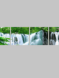 Prints Poster Waterfall Green Trees Modern Wall Pictures Print On Canvas  4pcs/set (Without Frame)