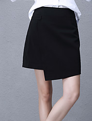 Women's Solid Black SkirtsSimple Above Knee
