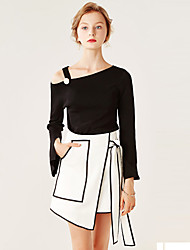Women's Formal / Work Sexy / Simple All Seasons BlouseSolid One Shoulder Long Sleeve White / Black /
