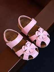Girl's Sandals Summer Sandals Cowhide / Leather Casual Flat Heel Flower Pink / White Others
