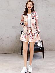 Women's Going out Street chic Fall Set SkirtPrint Round Neck Long Sleeve Pink Polyester Medium