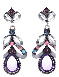 Europen Style Bohemian Retro Flower Earrings Women Colorful Crystal Rhinestone Water Drop Dangle Earrings Jewelry