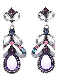 Europen Style Bohemian Retro Flower Earrings Women Colorful Crystal Rhinestone Water Drop Dangle Earrings Jewelry