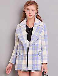 Linjou Women's Going out Cute CoatPlaid Notch Lapel Long Sleeve Winter Blue / Pink Wool Thick