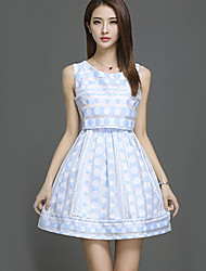 Women's Going out Street chic Sheath DressPolka Dot Round Neck Mini Sleeveless Blue Polyester Summer