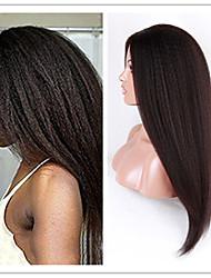 Mujer Pelucas de Cabello Natural Cabello humano Agarre en U 130% Densidad Liso Liso Natural Afro Peluca Negro Azabache Negro Marrón