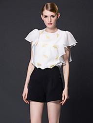 frmz Frauenarbeit einfach Sommer blousesolid / bestickt Rundhals Kurzarm weiß