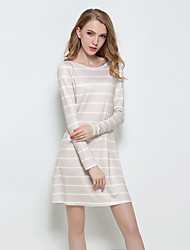 Women's Casual/Daily Sexy / Simple Backless Reversible Style Sheath DressStriped Round Neck Above Knee Long Sleeve