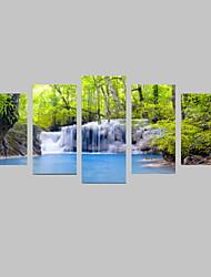 5 Panels Spring Green Trees and Blue Waterfalls Landscape Canvas Print Art for Livingroom Decoration Unframed