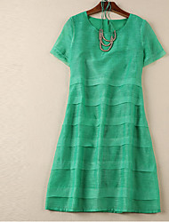 Boutique S Women's Going out Sophisticated Sheath DressSolid Round Neck Above Knee Short Sleeve Green