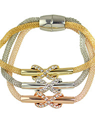 Multilayers Braided Metal Chain Rhinestone Bowknot Magnetic Bracelets