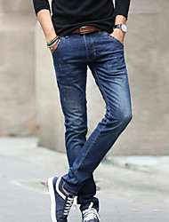 Men's Solid Casual JeansOthers Blue Denim Fabric