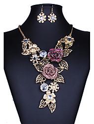 Набор украшений Ожерелье / серьги Сексуальные платья Мода европейский Золотой Ожерелья Серьги Для Свадьба Для вечеринок Повседневные1