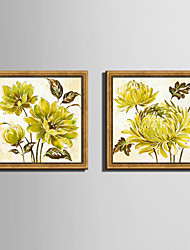 E-HOME® Framed Canvas Art, Yellow Chrysanthemum Framed Canvas Print Set Of 2