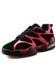 Men's Athletic Shoes Winter Comfort / Round Toe PU Athletic Flat Heel Lace-up White / Black and Red