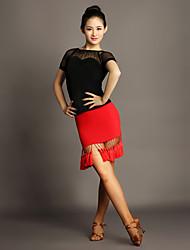 Tenue(Rouge,Chinlon / Tulle,Danse latine)Danse latine- pourFemme Frange (s) Spectacle Danse latine Taille moyenne