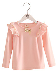 Girl's Purified Cotton Spring/Fall Fashion Casual/Daily Lace Ruffle Blouse Long Sleeves T-shirt