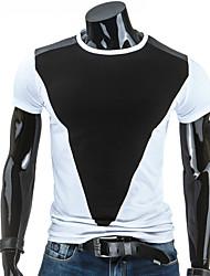 Masculino Camiseta Algodão Cor Solida Manga Curta Casual-Preto / Cinza