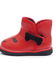 Para Niña-Tacón Plano-Botas de Nieve / Botas a la Moda-Botas-Exterior / Casual-Semicuero-Negro / Rojo