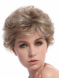 Blonde Color Short Curly European Synthetic Wigs Capless For Afro Women