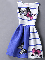 Women's Going out / Casual/Daily Street chic A Line / Sheath Dress,Print / Jacquard Above Knee Sleeveless Blue