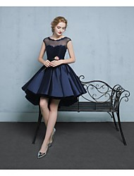 A-Line Scoop Neck Asymmetrical Lace Satin Tulle Cocktail Party Homecoming Dress with Beading Appliques