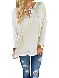 Tee-shirt Femme,Couleur Pleine Décontracté / Quotidien simple Automne Manches Longues Capuche Beige Lin Moyen