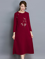 Women's Going out / Beach / Holiday Cute Shirt DressSolid / Embroidered Round Neck Midi Long Sleeve Red Cotton