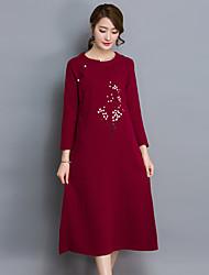 Женский На выход / На каждый день Очаровательный Рубашка Платье Однотонный / Вышивка,Круглый вырез Средней длины Длинный рукав Красный