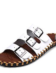 Masculino-Chinelos e flip-flops-Conforto-Rasteiro--Couro-Casual