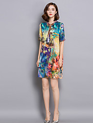 Women's Casual/Daily Chinoiserie Sheath Dress,Floral Stand Above Knee ½ Length Sleeve Blue Rayon Summer