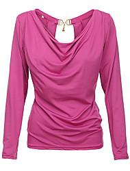 Damen Solide Einfach Lässig/Alltäglich T-shirt,Rundhalsausschnitt Alle Saisons Langarm Rot / Schwarz Polyester Mittel